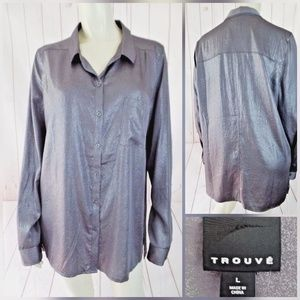 Trouve Blouse Top L Gray Sparkle Poly Side Slits
